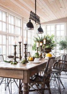 comedor con mobiliario vintage