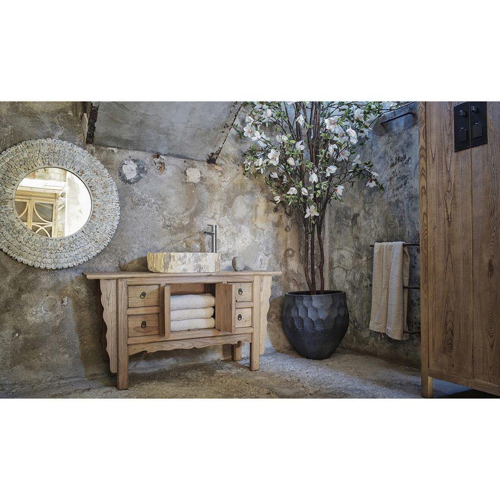 baño estilo oriental lavabo natural crema geminis