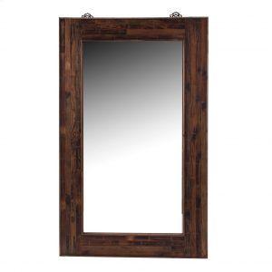 espejo rectangular de madera marrón