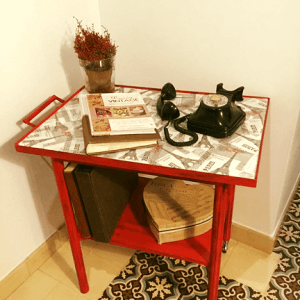 Carrito camarera de madera restaurado