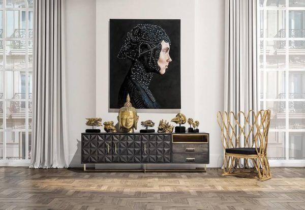 salon mueble valf negro