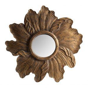 espejo flor dorado