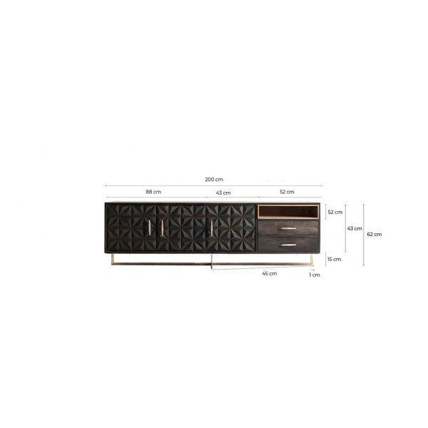 medidas mueble tv valf negro